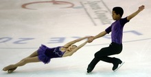 Steve Griffin  |  The Salt Lake Tribune   Gabrielle Smeenge and Micahel Johnson spin during the intermediate pairs event at the U.S. Junior Figure skating championships at the Salt Lake City Sports Complex  Friday, December 17, 2010.