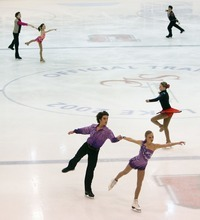 Steve Griffin  |  The Salt Lake Tribune   Skaters warm up before their event during the intermediate pairs event at the U.S. Junior Figure skating championships at the Salt Lake City Sports Complex  Friday, December 17, 2010.