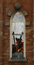 Rick Egan   |  The Salt Lake Tribune  Flames are still visible through the windows of the Provo Tabernacle, around noon, Friday, Dec. 17, 2010.