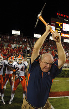 UTEP head coach Mike Price swings a pick-axe before an NCAA college football game against Houston Friday, Sept. 10, 2010, in Houston. (AP Photo/Dave Einsel)