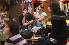 Leah Hogsten  |  The Salt Lake Tribune  Friends Courtney Eaves (left) and Baylie McKnight (right) share a laugh with each other during a meeting of the Clearfield High Gay-Straight Alliance. Members of the student club met on Dec. 9, 2010.