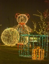 Paul Fraughton  |  The Salt Lake Tribune   Giant Christmas packages, toys and a teddy bear created with colored lights are part of the  lavishly decorated grounds of Ogden's Christmas Village on  Monday,December 20, 2010