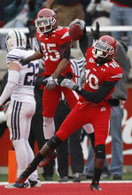 Chris Detrick  |  The Salt Lake Tribune  Utah Utes wide receiver DeVonte Christopher #10 and Utah Utes wide receiver Jereme Brooks #85 celebrate Christopher's touchdown as the Utes face BYU in the third quarter at Rice-Eccles Stadium Saturday, November 27, 2010.