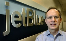 Steve Griffin  |  The Salt Lake Tribune JetBlue CEO David Barger visits JetBlue employees Tuesday at the Salt LakeCity  International Airport as part of a 10th anniversary tour of all the airports where JetBlue employees work.