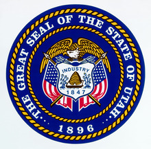 The Utah state seal correctly features the