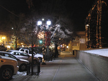 Donald W. Meyers     The Salt Lake Tribune An LED streetlight casts a white glow on Provo's Center Street in December. The city is evaluating LED lamps as part of a federal energy-efficiency grant. The city will also use the grant to launch a public energy efficiency program in January, offering rebates for energy improvements and subsidized home energy audits.