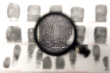 Steve Griffin  |  The Salt Lake Tribune Trent Grandy, a forensic scientist, uses this loupe to magnify fingerprints found at crime scenes, comparing them to known prints as he works at the Utah state crime lab in West Valley City.