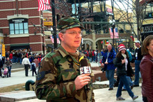 Tech. Sgt. Sterling Poulson, the Public Affairs Non-Commissioned Officer in Charge for Utah Air National Guard State Headquarters, gives a live weather report wearing his uniform in 2003. Sergeant Poulson is a traditional Air Guardsman as well as a local weatherman at KUTV 2News in Salt Lake City, Utah. Sergeant Poulson gives the Utah ANG visibility by wearing his uniform during live shots on 2News for major Guard events. U.S. Air Force courtesy photo (RELEASED).