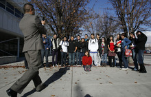 Francisco Kjolseth  |  The Salt Lake Tribune  Students from Mountain View High in Orem who are members of the Latinos in Action program gather for a picture before heading out to help young students in the classroom. The program focuses on leadership, service learning and literacy.