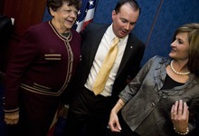 Djamila Grossman  |  The Salt Lake Tribune  Sen. Mike Lee, R-Utah, and his wife Sharon, talk to former Utah Gov. Olene Walker, during a gathering with friends, family, and other public officials after Lee was sworn in as a Senator on Capitol Hill in Washington, D.C., Wednesday, Jan. 5, 2011.