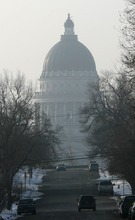 Steve Griffin  |  The Salt Lake Tribune   Haze surrounds the capitol as an inversion covers the Salt Lake Valley Friday, January 7, 2011.