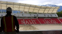 FILE PHOTO | The Salt Lake Tribune Trey Fitz-Gerald, director of communications for Real Salt Lake, looks across the field at Rio Tinto Stadium during its construction in 2008. The stadium is the largest tax delinquent in three counties.