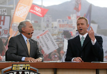 Scott Sommerdorf  l  The Salt Lake Tribune Lee Corso (left), reacts as analyst Kirk Herbstreit picks Utah to win Saturday's matchup. The ESPN College Gameday program did its broadcast at the University of Utah prior to the TCU at Utah game, Saturday, 11/6/2010.