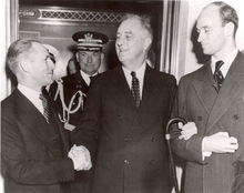 Marriner Eccles, left, talks to President Franklin Delano Roosevelt who in 1934 named Eccles chairman of the Federal Reserve Board.