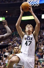 Djamila Grossman  |  The Salt Lake Tribune  The Utah Jazz's Andrei Kirilenko, 47, goes up for an easy bucket in a game Friday against Cleveland in Salt Lake City. Kirilenko, who recently became a U.S. citizen, is at the midway point of his final year under contract with the Jazz and faces a career crossroads.