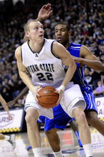 Utah State's Brady Jardine (22) looks to make it around Louisiana Tech's J.L. Lewis during the second half of an NCAA college basketball game at Spectrum Stadium, Thursday, Jan. 20, 2011, in Logan, Utah. Utah State won 74-57. (AP Photo/The Herald Journal, Jennifer Meyers)