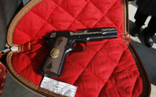 Scott Sommerdorf  l  The Salt Lake Tribune The commemorative .22 cal Browning handgun given to the Governor by Christopher Browning, the great-grandson of John M. Browning. Utah Gov. Gary Herbert made a formal presentation of the resolution declaring Monday, January 24, 2011 as John M. Browning Day to Christopher Brownin at the noon ceremony on the Capitol steps.