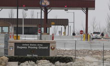 The main gate at Dugway Proving Ground military base, located about 85 miles southwest of Salt Lake City. Base authorities continued searching Tuesday for a missing solider who hasn't been heard from since Sunday. Associated Press file photo