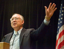 Secretary of the Interior Ken Salazar delivers some remarks at a general listening session at Salt Lake City's Radisson Hotel. The  session highlighted the government's