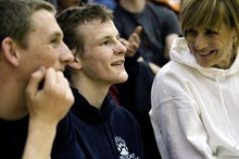 Djamila Grossman  |  The Salt Lake Tribune  Woods Cross High School senior Sasha Prosence chats with his friend, Danny Smith and his mom, Nancy Prosence after competing in a wrestling tournament at Bountiful High School, Friday, Jan. 28, 2011.