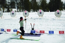 Sue Lee from Salt Lake City takes aim at the 2005 Bryce Canyon Winter Festival Archery Biathlon.  Photo by Janet Reffert.