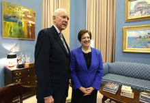 File Photo | The Salt Lake Tribune Sen. Orrin Hatch, R-Utah, says Supreme Court Justice Elena Kagan should withdraw from consideration of the health-care reform case almost certain to end up before the high court. The two are pictured here last May when Kagan, then a nominee, was making the rounds to meet with key senators.