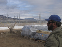 Mark Havnes  |  The Salt Lake Tribune  Kevin Robinson, whose Cedar City company will erect fencing around a planned solar farm in Iron County at the project site Friday, Feb. 4, 2011, next to a Rocky Mountain Power substation that will distribute the electricity.