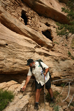 Leah Hogsten  |  The Salt Lake Tribune Bureau of Land Management's Monticelllo Field Office Manager Tom Heinlein among the Pueblo III-period cliff dwellings created by the Anasazi or Ancestral Puebloan peoples between 1150 and 1300 A.D.  in Recapture Canyon on Blanding's northern outskirts on Thursday, May 6, 2010. The U.S. Bureau of Land Management is considering a San Juan County  application for the right of way in Recapture Canyon. An ATV trail would give Blanding residents and visitors easier access to archaeological sites.