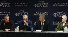 Leah Hogsten  |  The Salt Lake Tribune Phil Johnson, left, Jerry Sloan, Jazz CEO Greg Miller and Jazz owner Gail Miller react as Sloan announces he has resigned as coach of the Jazz on Thursday, Feb. 10, 2011, in Salt Lake City, bringing a stunning end to a long career in Utah.
