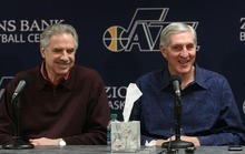 Leah Hogsten  |  The Salt Lake Tribune Phil Johnson, left, and Jerry Sloan react Thursday as the Utah Jazz announce that both are resigning. Sloan's resignation brings to a stunning end a long career in Utah that included most of his 1,221 career coaching victories and induction into the basketball Hall of Fame.    Jerry Sloan resigned as coach of the Jazz on Thursday, February 10, 2011, in Salt Lake City, bringing to a stunning end a long career in Utah that included most of his 1,221 career coaching victories and induction into the basketball hall of fame.Longtime assistant coach Phil Johnson also resigned.  Former assistant coach Tyrone Corbin is now the head coach. The announcement was given at  a press conference at 3 p.m. at the team's practice facility.