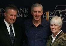 Leah Hogsten  |  The Salt Lake Tribune Jazz CEO Greg Miller, left, Jerry Sloan  and Jazz owner Gail Miller during a news conference Thursday in which Sloan announced his resignation. Sloan's resignation brings to a stunning end a long career in Utah that included most of his 1,221 career coaching victories and induction into the basketball Hall of Fame.