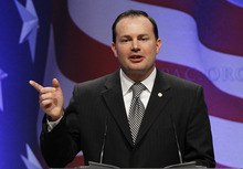 Sen. Mike Lee, R-Utah, speaks at the Conservative Political Action Conference (CPAC) in Washington, Friday, Feb. 11, 2011.(AP Photo/Alex Brandon)