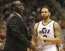 Chris Detrick | The Salt Lake Tribune  Utah Jazz head coach Tyrone Corbin and Utah Jazz point guard Deron Williams (8) during the game against Phoenix at the EnergySolutions Arena on Friday, Feb. 11, 2011.