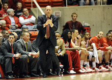 Sarah A. Miller  |  The Salt Lake Tribune  Utah head coach Jim Boylen watches his team from the sidelines during the first period of their game at the Huntsman Center Saturday, February 4, 2011. Air Force beat the Utes, 53-49. Sarah A. Miller  |  The Salt Lake Tribune  at the Huntsman Center Saturday, February 4, 2011. Air Force beat the Utes, 53-49.