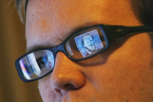Francisco Kjolseth  |  The Salt Lake Tribune A graphic image of Brigham Young is reflected in the glasses of artist Matt Page,  explores religious themes with an eye toward parody.