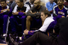 Jeremy Harmon  |  The Salt Lake Tribune  Phoenix Suns guard Steve Nash (13) sits on the sidelines next to the Suns bench during the second quarter as the Jazz face the Phoenix Suns on Friday, February 11, 2011.
