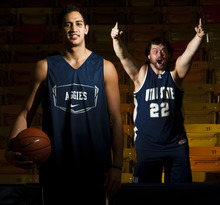 Chris Detrick | The Salt Lake Tribune  Bill 'Wild Bill' Sproat, right, and USU forward Tai Wesley met three years ago on campus, and have been best friends ever since.