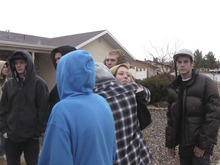 Friends of Owen Christopher Ellis gather and comfort each other   Saturday  at his house where he was shaot and killed Friday night along with his mother.Mark Havnes/The Salt Lake Tribune