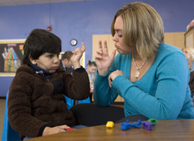Al Hartmann   |  The Salt Lake Tribune  Noor Kader, 6, who is deaf, makes sounds of everyday objects like trains and airplanes while using American Sign Language with his speech therapist, Meghan Leigh, at the Jean Massieu School of the Deaf in Millcreek.