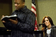 Djamila Grossman  |  The Salt Lake Tribune Rachelle Call, an LDS songwriter, listens as Pastor Bernie Anderson, a Christian minister, talks as they are joining together to present