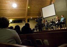 Djamila Grossman  |  The Salt Lake Tribune Pastor Bernie Anderson, a Christian minister, talks to the audience, during