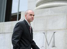 Sarah A. Miller  |  The Salt Lake Tribune  Tim DeChristopher arrives at his pretrial hearing in federal court in Salt Lake City on Thursday, Feb. 25, 2011.