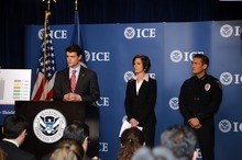 Courtesy U.S. Immigration and Customs Enforcement ICE Director John Morton, left, U.S. Attorney for the Northern District of Georgia Sally Quillian Yates and South Salt Lake Police Chief Chris Snyder discuss Project Southern Tempest in the nation's capital Tuesday.