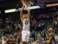 Photo by Chris Detrick | The Salt Lake Tribune  Utah Jazz small forward Andrei Kirilenko (47) goes up for a last second shot during the second half of the game at EnergySolutions Arena Thursday March 3, 2011.  Denver won the game 103-101.