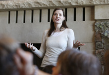Scott Sommerdorf  l  The Salt Lake Tribune Geena Davis speaks Jan. 23 to a gathering of about 100 women about the research her foundation has done about how women and girls are represented in films and tv.