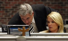 Steve Griffin     The Salt Lake Tribune In this archive photo from August, KUTV's Mark Koelbel and  Shauna Lake review news scripts at their desks at KUTV studios in Salt Lake City.