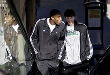 Djamila Grossman  |  The Salt Lake Tribune  Utah Jazz rookies Gordon Hayward and Jeremy Evans take the escalator on their way to lunch at the Gateway mall food court in Salt Lake City, Thursday, Feb. 3, 2010.