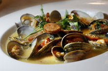 Scott Sommerdorf  |  The Salt Lake Tribune Steamed clams appetizer at the Wild Rose in The District in South Jordan.