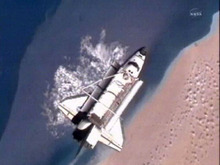 In a photo made from NASA television the Space Shuttle Discovery is 216 miles above the Sahara Desert after separating from the International Space Station Monday March 7, 2011.  The Discovery is scheduled to land Wednesday as it completes its final mission. (AP PHoto/NASA)