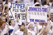 Trent Nelson  |  The Salt Lake Tribune BYU fans hold up signs celebrating BYU's Jimmer Fredette as BYU hosts Wyoming, college basketball in Provo, Utah, Saturday, March 5, 2011.